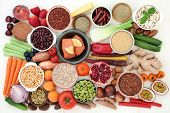 Health food for losing weight with fish, legumes, fresh fruit and vegetables, grains, nuts, suppleme poster