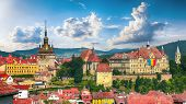 Panoramic Summer View Over The Medieval Cityscape Architecture In Sighisoara Town, Historical Region poster