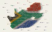 Large Group Of People Forming South Africa Map And National Flag In Social Media And Communication C poster