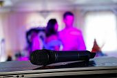 Wedding Meeting And Event On Stage Concept - Close Up  Microphone. On Stage Of Business Meeting Or E poster