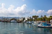 Fishing And Tourist Boats And And Palm Trees Alley Near Kos Island Coastline, Greece. poster