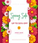 Spring Sale Banner Template With Paper Vivid Colors On Colorful Background. Seasonal Discounts. Moth poster