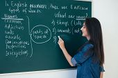 The Teacher Writes English Rules On The Blackboard. Learn Language poster