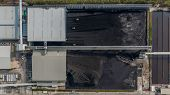 Coal Storage And Bulldozer, Aerial View Coal Mining Industry. poster