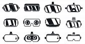 3d Game Goggles Icons Set. Simple Set Of 3d Game Goggles Vector Icons For Web Design On White Backgr poster