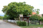 Small Family House With Grass On Driveway Surrounded With White Picket Fence And Dense Vegetation Ne poster