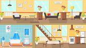 Rooms Interior Concept Flat Vector Illustration. Living Room, Bathroom, Dining Room, Kitchen. Articl poster