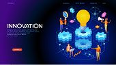 Banner Innovation Concept. Modern Business Technology. People Interact With Gears And Lamp. 3d Vecto poster