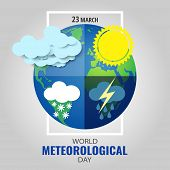 Vector Illustration On The Theme World Meteorological Day poster
