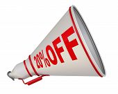 20%off. Discount Of Twenty Percentage. White Megaphone With Red Text 20% Off. Isolated. 3d Illustrat poster
