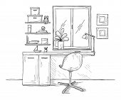 Sketch The Room. Office Chair, Desk, Various Objects On The Table. Sketch Workspace. Vector Illustra poster