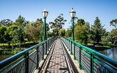 Old Albert Bridge An Heritage Footbridge Over Torrens River With Street Light In Adelaide Sa Austral poster