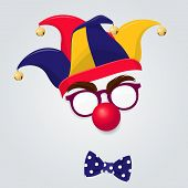 Funny Clown Accessories. Colored Jester Hat With Clown Glasses, Red Nose And Bow Tie On White Backgr poster