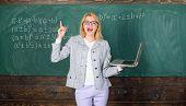 Online Schooling Concept. Woman Wear Eyeglasses Holds Laptop Surfing Internet. Educator Smart Clever poster