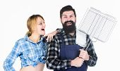 Bearded Hipster And Cheerful Girl Hold Cooking Grilling Utensils White Background. Essential Barbecu poster