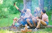 Tourists Sit Log Near Bonfire Taking Selfie Photo Smartphone. Friends On Vacation Capture Moment. Ma poster