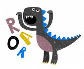 Childrens Drawing Of Scary Growling Dinosaur Flat. Growl Dinosaur And Monster. Vector Illustration poster