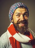 Smiling Bearded Man In Scarf And Hat. Handsome Man Wearing Winter Hat And Scarf. Bearded Man With Sc poster