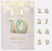 Burning Number 10 Birthday Candles With Birthday Celebration Text On Light Blurred Background And Bu poster