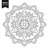 Decorative Monochrome Ethnic Mandala Pattern. Anti-stress Coloring Book Page For Adults. Hand Drawn  poster