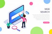 Isometric Web Search Concept. People Uses The Search Bar On The Computer Screen. Search For Informat poster