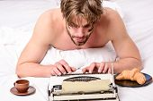 Man Typing Retro Writing Machine. Male Hands Type Story Or Report Using Vintage Typewriter Equipment poster