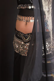 picture of belly-dance  - Belly Dancer body with coin decorated costume - JPG