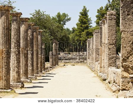 Greek Stone Pillar Colonnade