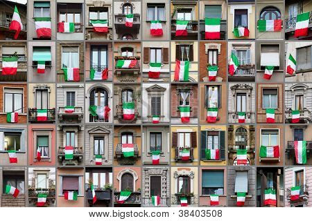 Composition of windows showing Italian flags in occasion of the celebration of the 150th anniversary