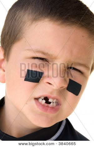 Young Hockey Player Snarling