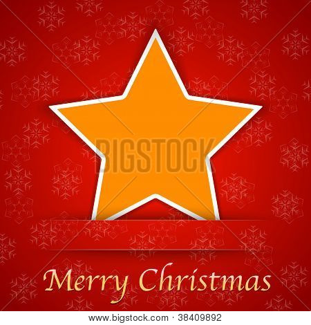 Merry Christmas Gift Card With A Simple Star Placed On Red Background