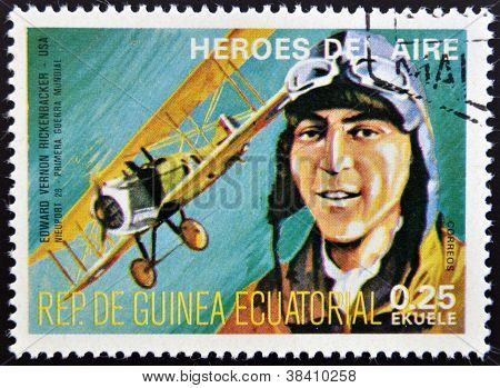 EQUATORIAL GUINEA - CIRCA 1974: stamp printed in Guinea dedicated to air heroes shows Edward Vernon