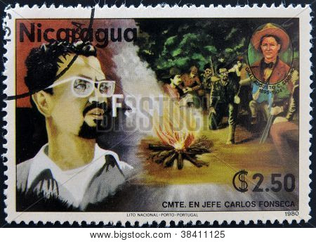 NICARAGUA - CIRCA 1980: A stamp printed in Nicaragua shows Carlos Fonseca founder of the Sandinista