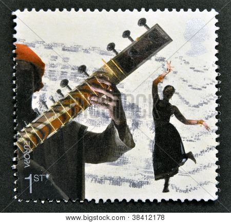 UNITED KINGDOM - CIRCA 2006: A stamp printed in Great Britain dedicated to sounds of Britain shows B