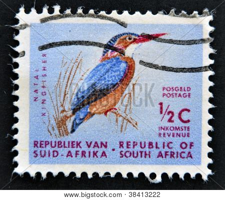 REPUBLIC OF SOUTH AFRICA- CIRCA 1973: A stamp printed in RSA shows natal kingfisher circa 1973