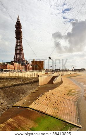 Blackpool Tower viewed from the seafront.