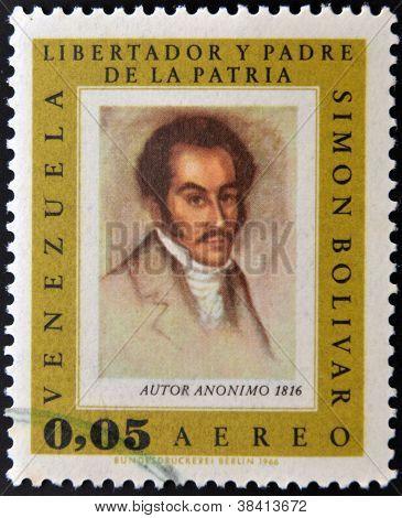 VENEZUELA - CIRCA 1980: A stamp printed in Venezuela shows image of the Simon Bolivar circa 1980