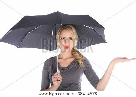 Unhappy Woman With Umbrella Checking For Rain