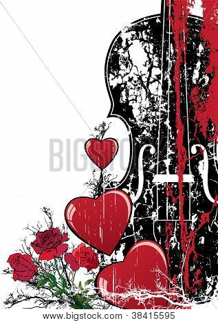 Vector Floral Valentine  Musical Composition