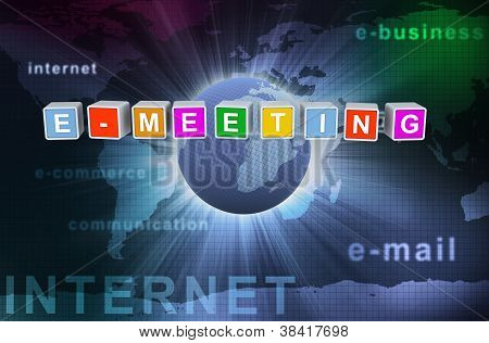 3D Buzzword Text E-meeting