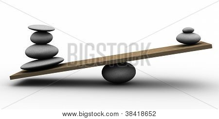 Balance de piedras 3D.
