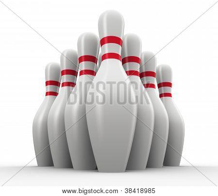 3D Set Of Bowling Skitties