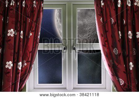 Moon through a window