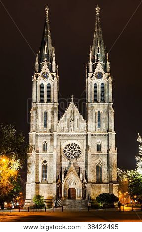 Ludmila Church In Prague, Namesti Miru Square