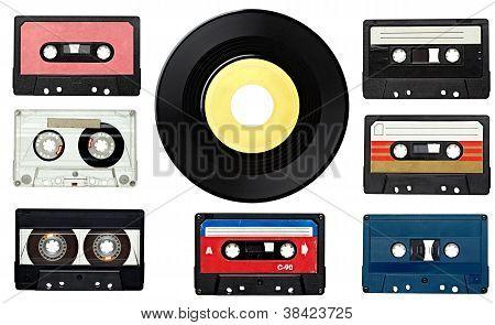 Music Audio Tape And Vinyl Disc Vintage