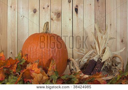 Pumkin and fall foliage