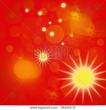 Hot Red And Yellow Background With The Image Of The Sun And Stars