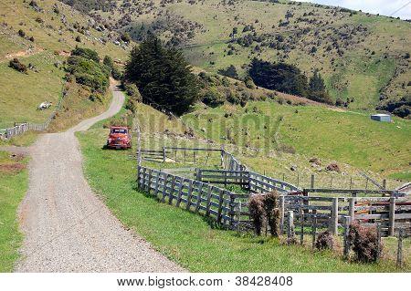 Gravel Road In Farm Area