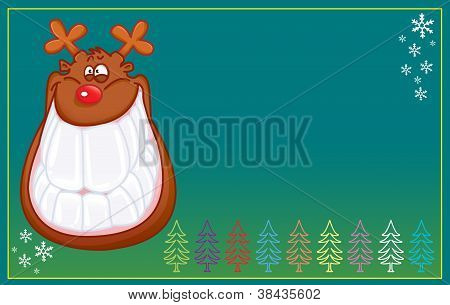 FUNNY REINDEER SMILING christmas card