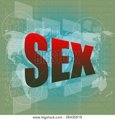 Sex Word On Digital Screen With World Map - Social Concept